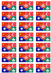 China Languages Flag Stickers - 21 per sheet
